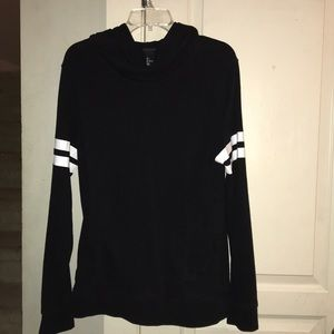 H&M black hoodie with white stripes on the sleeves